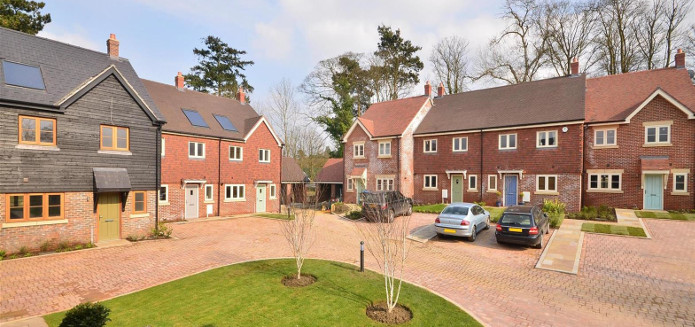 A wide shot of the Franklins Gardens new development in Lingfield