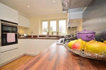 Lifestyle shot of the kitchen at Franklins Gardens in Lingfield